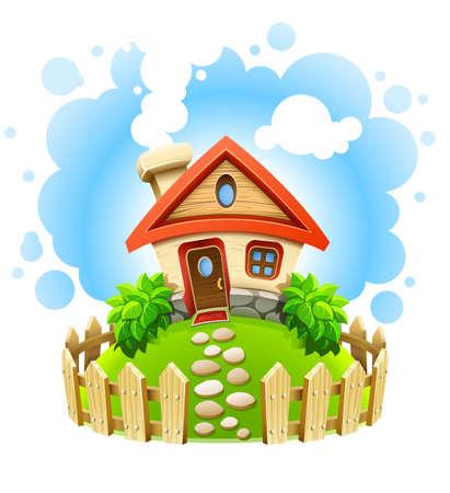 casale: Casa da favola in cantiere con illustrazione vettoriale di recinzione di legno isolato su sfondo bianco