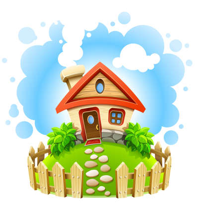 fencing: fairy-tale house on lawn with fence   illustration isolated white background