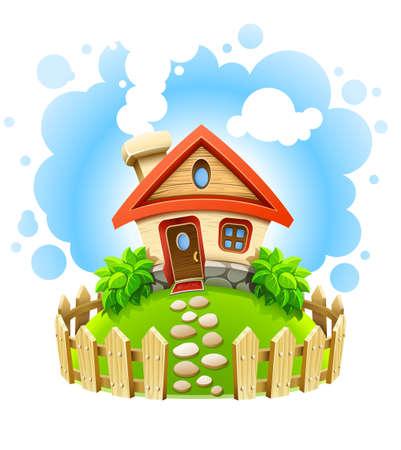 sprookjesachtige huis op gazon met hek illustratie geïsoleerd witte achtergrond