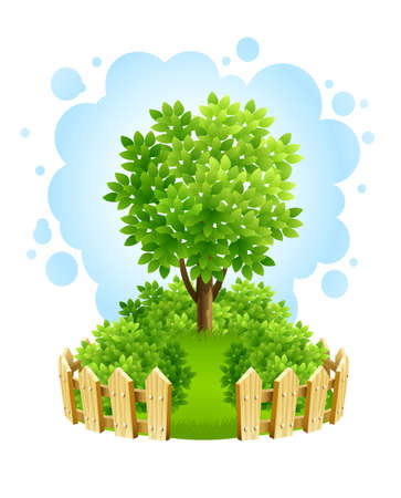 leafage: tree on green lawn with wooden fence  illustration isolated white background