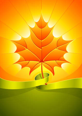 warmly: autumn yellow leaf in light sunny rays with green ribbon   illustration