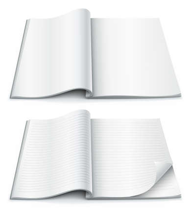 open magazine: empty pages inside of magazine with wrapped corner  illustration isolated on white background