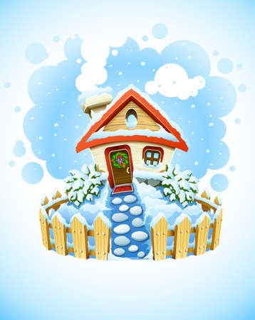 housetop: winter christmas landscape with house in snow  illustration