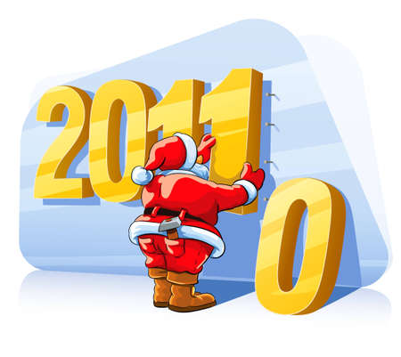 oldman: christmas santa claus changes a number of new year illustration isolated on white background