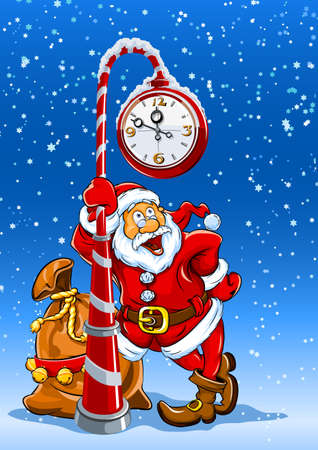 santa claus with sack of gifts stands under the clock illustration Vector