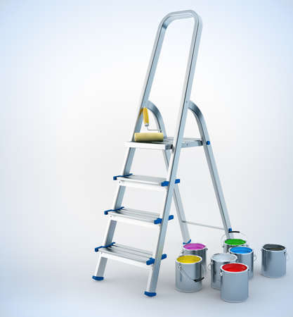 ladders: metal stairs stepladder and paint for maintenance 3d-illustration Stock Photo