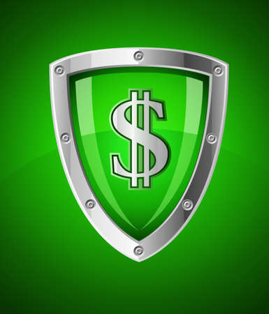 financial security shield as symbol safety with sign dollar currency illustration illustration