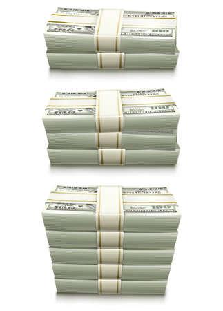 set of dollar bank notes packed money illustration isolated on white background Stock Illustration - 8159722