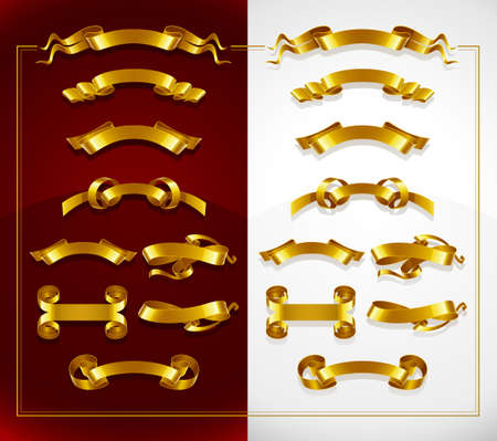 set of decorative gold banners on red and white background  illustration Vector