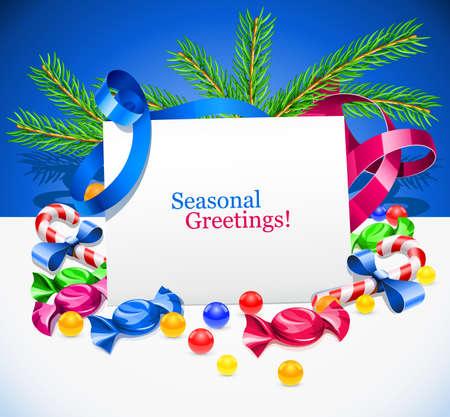 festal: illustrazione di decorazione con biglietto di auguri e dolci di Natale