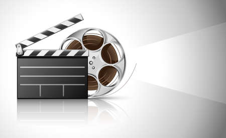 cinematograph: cinema clapper and video film tape on disc illustration Stock Photo
