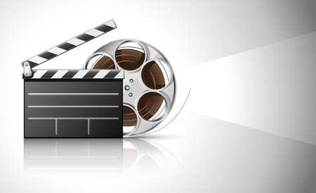 videofilm: Kino Clapper und Video Film Tape auf Disc-illustration Lizenzfreie Bilder