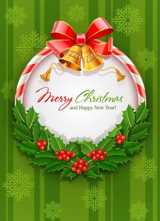 feliz: corona di Natale con fiocco e oro di illustrazione vettoriale campana su sfondo verde con fiocchi di neve