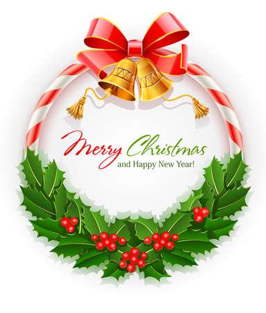 feliz: corona di Natale con fiocco e oro illustrazione vettoriale Campanile isolato su sfondo bianco