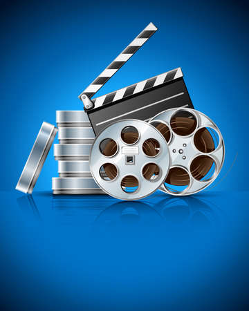 cinematograph: cinema clapper and video film tape on disc vector illustration on blue background