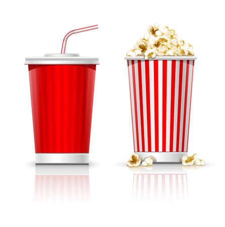palomitas: vidrio completa con ilustración vectorial bebida y palomitas de maíz, aislado en fondo blanco