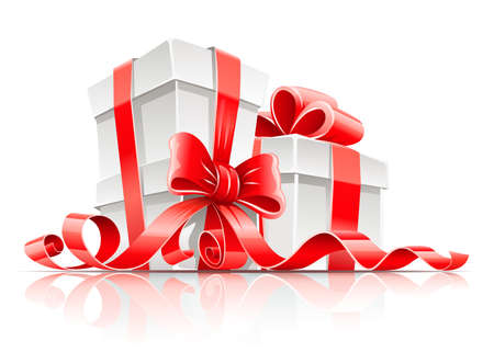 gift packs: gift in box with red ribbon and bow vector illustration isolated on white background Illustration