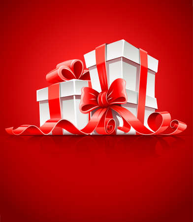 gift in box with red ribbon and bow vector illustration Stock Vector - 8437891