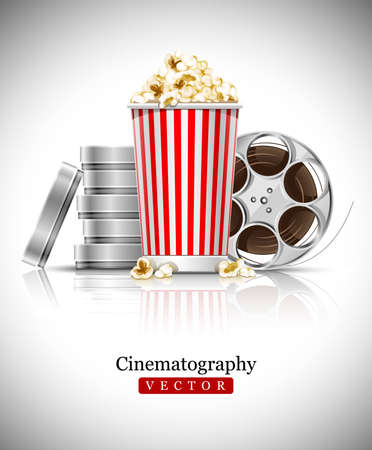 cinematograph in cinema films and popcorn illustration