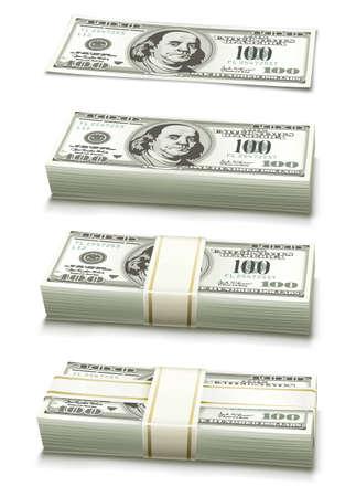 set of dollar bank notes packed money illustration isolated on white background