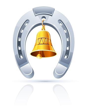metallic horseshoe with gold bell  Иллюстрация