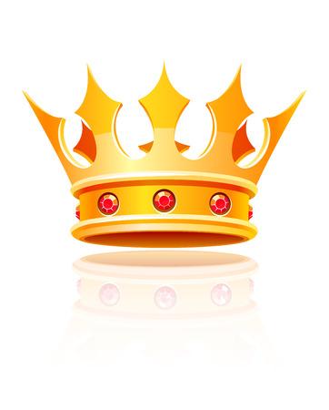 Złota królewska korona. Ilustracja wektora samodzielnie na białym tle