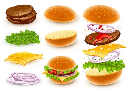 Hamburger z sera, sałata, cebula i mięsa rissole