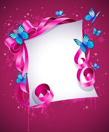 carte de voeux avec bow Rose et papillon bleu