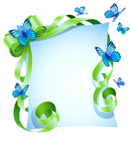 greeting card with green bow and blue butterfly