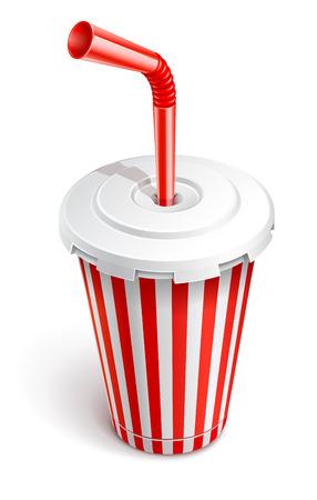 Copa de comida rápida de papel con tubo. Ilustración vectorial aislada sobre fondo blanco Ilustración de vector
