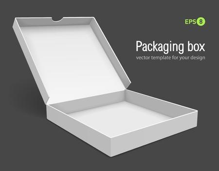openen van de verpakking voor pizza vectorillustratie geïsoleerd op een grijze achtergrond