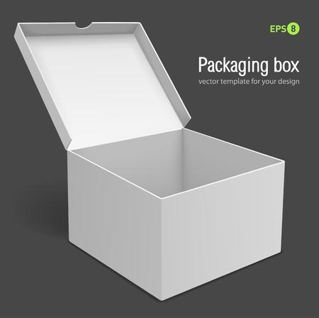 Open verpakking vak vectorillustratie geïsoleerd op een grijze achtergrond
