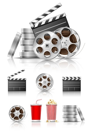 set of objects for cinematography clapper and film tape vector illustration isolated on white background