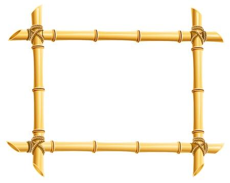 marco de madera de bambú pega la ilustración aislada sobre fondo blanco Ilustración de vector