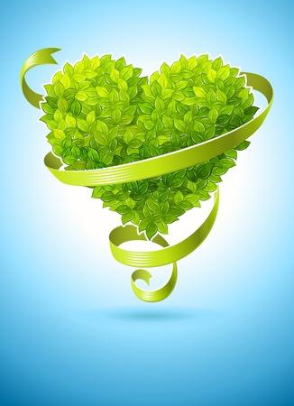 녹색 나뭇잎과 리본의 마음과 생태 개념