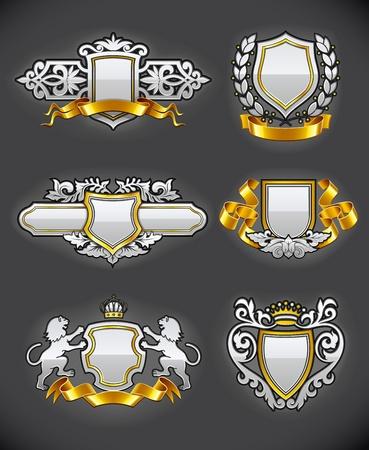 heraldic vintage emblems set silver and gold illustration
