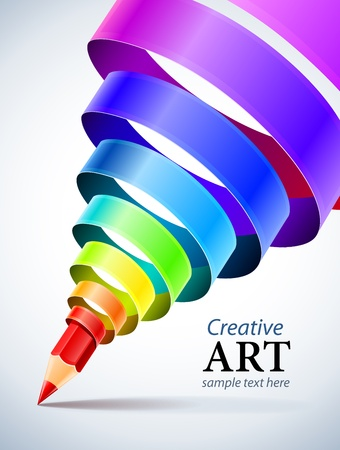 creative template with pencil and coloured spiral ribbon art concept Illustration