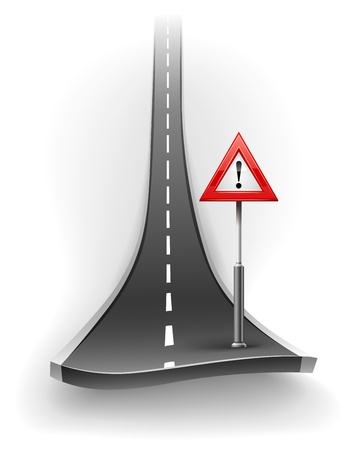 break of asphalt road with warning sign illustration isolated on white background