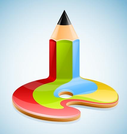 pencil as symbol of visual art illustration