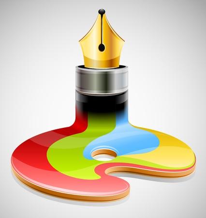 ink pen as symbol of visual art illustration Ilustracja