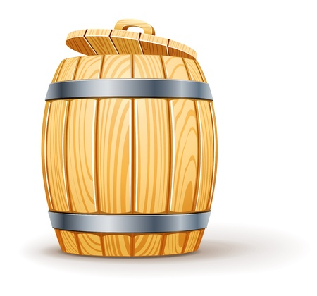 wooden barrel with lid illustration isolated on white background