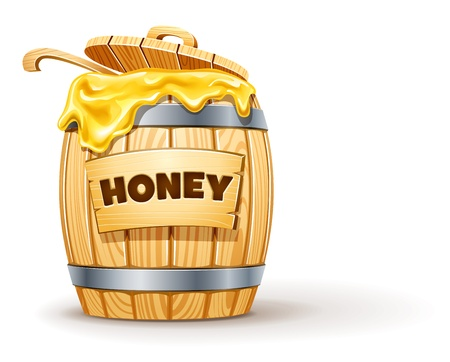 wooden barrel full of honey illustration isolated on white background