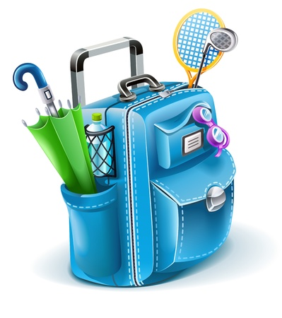 travel bag with objects for entertainment illustration isolated on white background