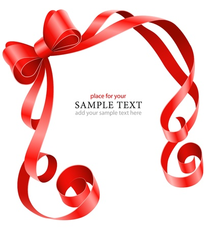 greeting card template with red ribbon and bow illustration isolated on white background