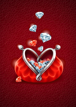 Love concept. Diamond gems falling into the red wallet with lock in form of heart. Vector illustration, EPS8
