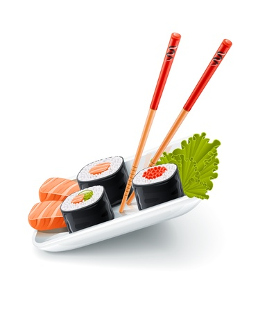 Sushi japanese food with fish and chopsticks on the plate