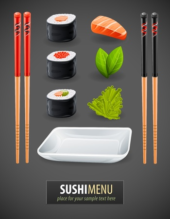 Sushi details of japanese cuisine - ingredients, fish, chopsticks and plate