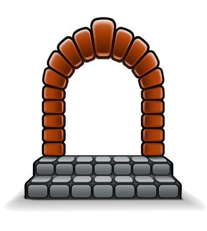 入り口のアーチと石