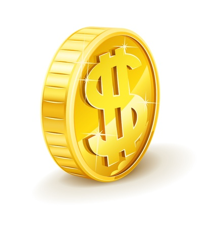 gold coin with dollar sign vector illustration isolated on white background