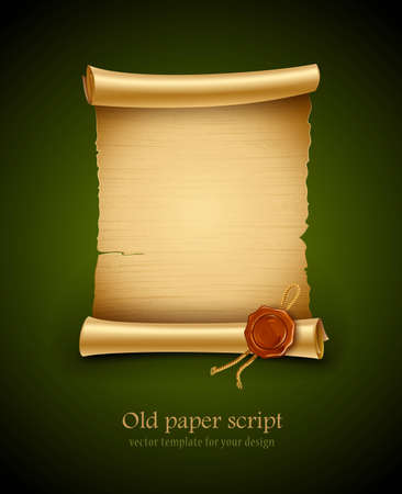 old blank paper script background with stamp 일러스트